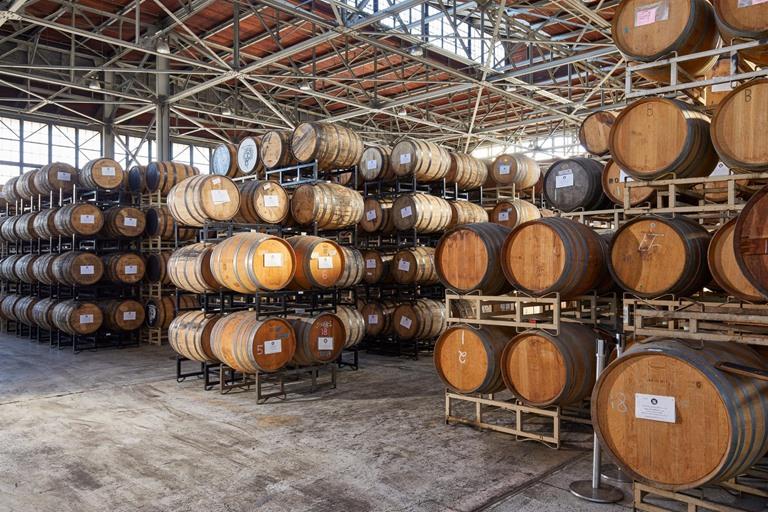 Alameda distillery barrel storage commercial construction